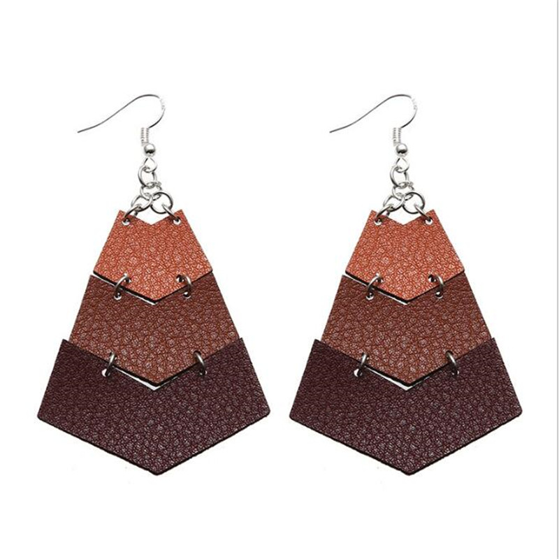 2019 New Fashion Leather Earrings For Women Geometric Drop Jewelry Gifts Accessories