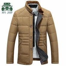 Afs джип классический стиль молодых мужчин зима марка вниз и парки пальто, Хаки / синий настоящей мужской зима внутренний свободного покроя пальто