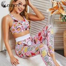 Летняя розовая Женская одежда для йоги с мультяшным рисунком