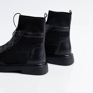 Image 4 - ALLBITEFO en cuir véritable + tricot à talons bas femmes bottes confortables bottines pour femmes automne filles chaussures femmes talons
