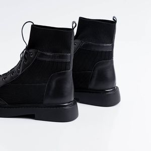 Image 4 - ALLBITEFO genuine leather+knitting low heeled women boots comfortable ankle boots for women autumn girls shoes women heels