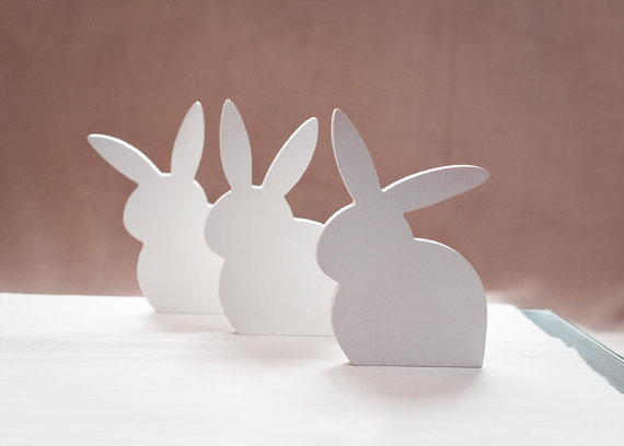 white wooden rabbits set of 3 easter bunny pvc wood decor