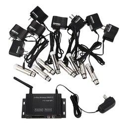 9 sztuk DMX512 DMX Dfi DJ 2.4G LCD bezprzewodowy 8 odbiornik i 1 nadajnik sterowania oświetleniem z adapterem w Oświetlenie sceniczne od Lampy i oświetlenie na