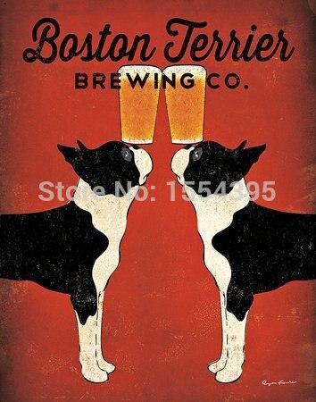 Heißer Verkauf Benutzerdefinierte Boston Terrier Klassische Mode-stilvollen Inneneinrichtungen Retro Poster (50x76 cm) Wandaufkleber dekoration U1-173