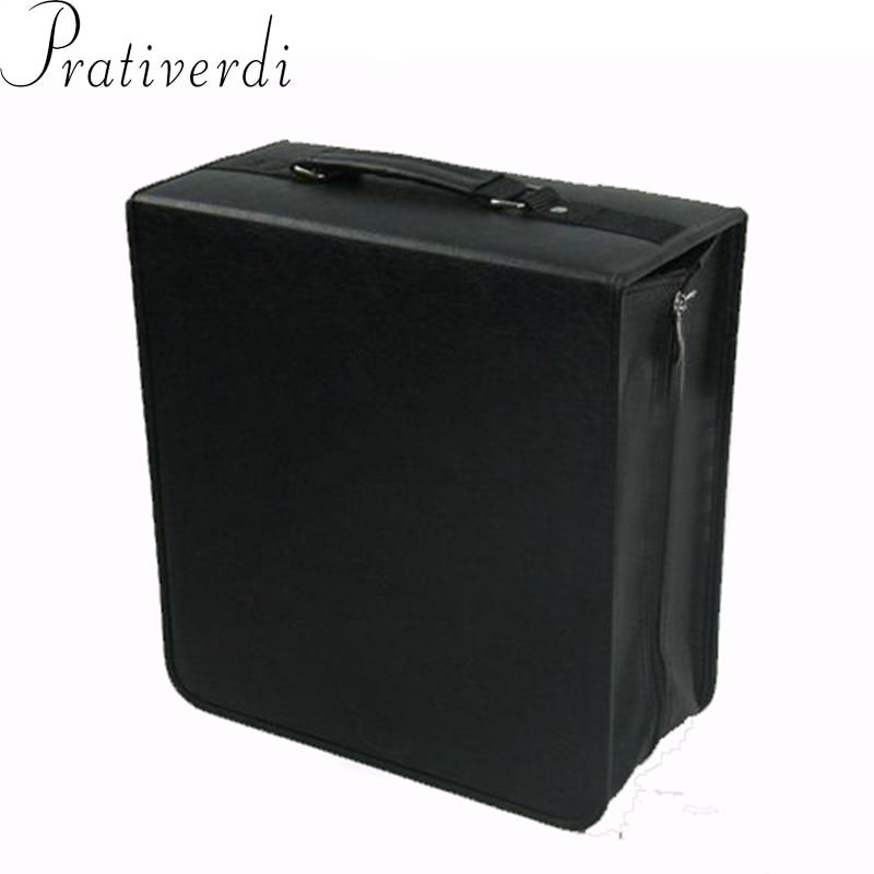 Prativerdi haute capacité en cuir affaires CD boîte couverture épaississement DVD sac étui de transport organisateur de voyage pour maison voiture sac de rangement