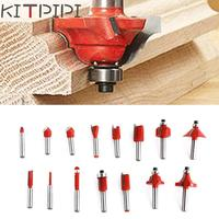 15PCS 1 4 Professional Shank Tungsten Carbide Router Bit Set Wood Case Tool Kit Milling Cutter