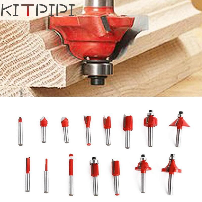 15PCS 1/4 Professional Shank Tungsten Carbide Router Bit Set Wood Case tool kit Milling Cutter Router bit set 6.35mm 15pcs set 1 4 shank wood carving tungsten carbide milling cutter trimming