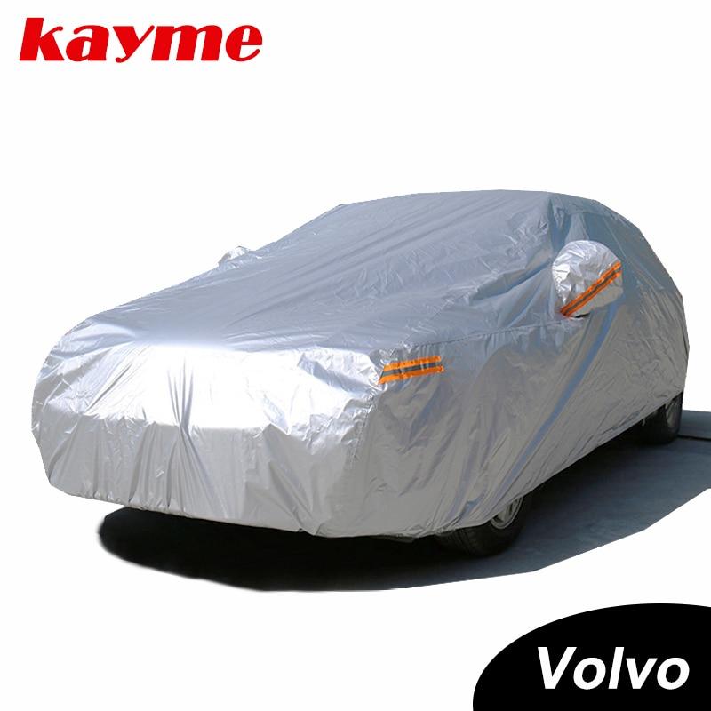 Kayme Su Geçirmez tam araba güneş toz kapakları Yağmur koruma araba kapak oto suv koruyucu için volvo xc60 v70 s80 xc90 s60 s40 v60
