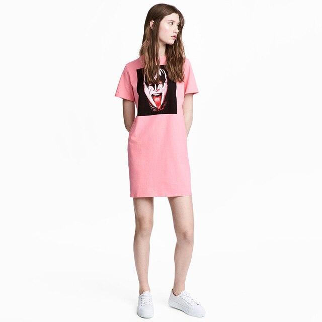 Rosa Lose Beiläufige Gedruckt t shirt Kleid Frauen Plus Größe damen ...