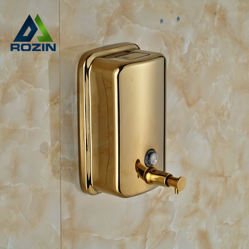 Free Shipping Bathroom Kitchen 800ml Soap Dispenser Hand Sanitizer Shampoo Box Wall Mounted Golden Soap Holder цена 2017