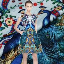 95*140CM/pcs hot sale Phoenix digital painting jacquard fashion fabric for dress tissu au meter bright cloth DIY material telas