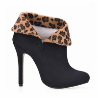 Novo Leopardo Sexy sapatos de Salto Alto Mulheres Tornozelo Botas Sapatos de Inverno Clube Vestido de Festa Sapatos mulher Dedo Do Pé Redondo Botas Zapatos Zapatillas Mujer
