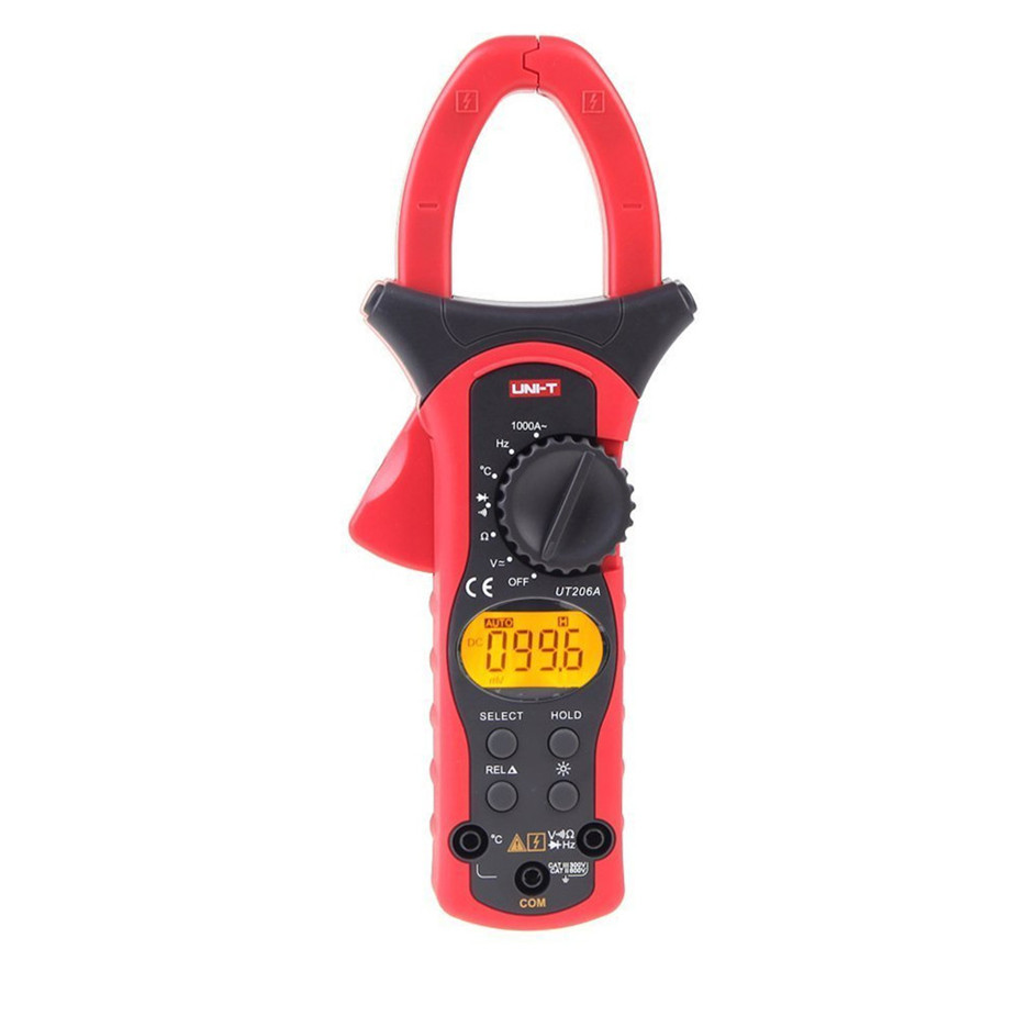UNI-T 1000A Current Clamp Meters UT206A Digital Clamp Meters Earth Ground Megohmmeter Voltage Current Testers uni t ut276a auto range digital clamp earth ground resistance testers megohmmeter clamp meters ohmmeter w rs 232 interface