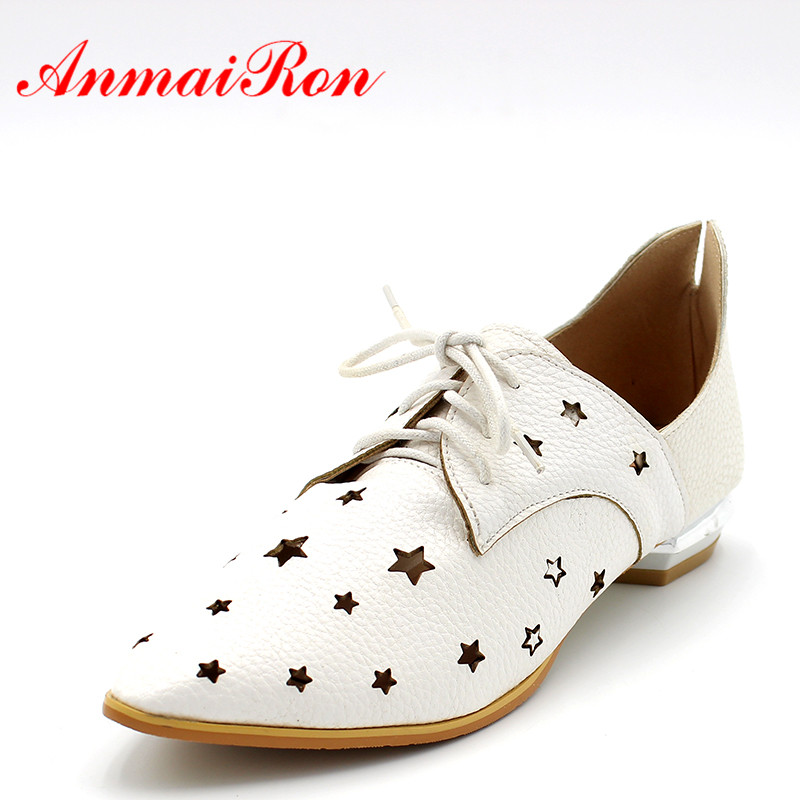 ANMAIRON Vintage Fashion Flat Shoes Women Pointed Toe Ladies Oxford Shoes Casual Flats Shoes Woman Shallow Cut Out Shoes Size 47 weweya 2017 summer candy colors ladies flats fashion pointed toe shoes woman new flat shoes women plus size chaussure femme