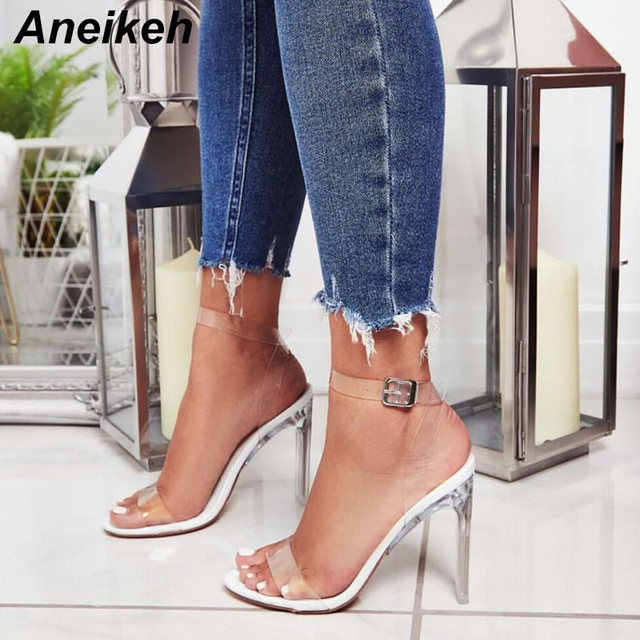 Aneikeh Shoes Women Sandals Woman Gladiator Pumps Sexy Clear High Heels PVC Crystal Classic Wedding zapatos mujer Open Toe 11CM