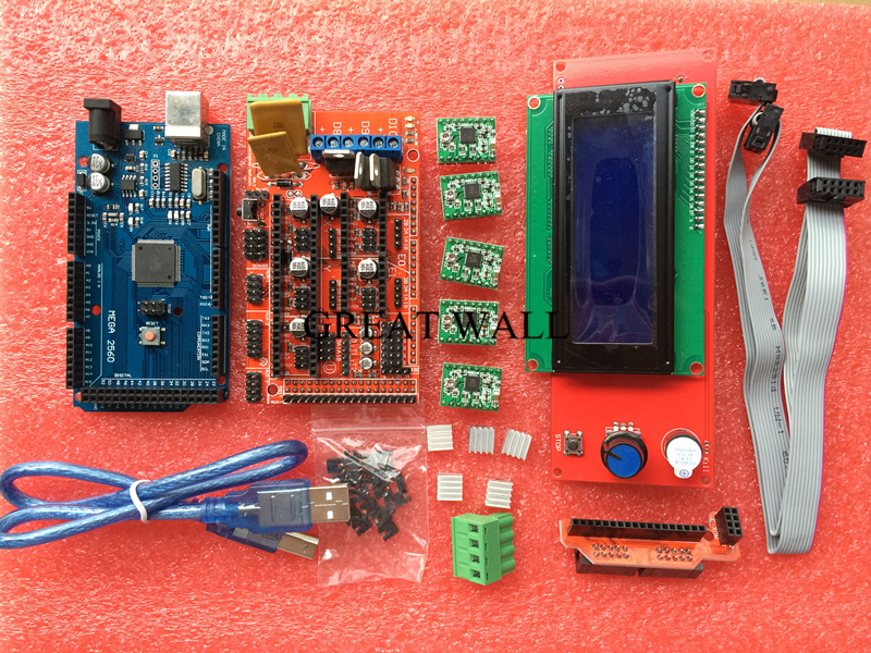 New 3D Printer Kit Mega 2560 R3 + 1pcs RAMPS 1.4 Controller + 5pcs A4988 Stepper Driver Module / RAMPS 1.4 2004 LCD control