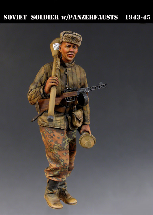 Scale Models 1/ 35 Soviet Soldier with Panzerfausts, 1945 soldier figure Historical WWII Resin Model Free Shipping