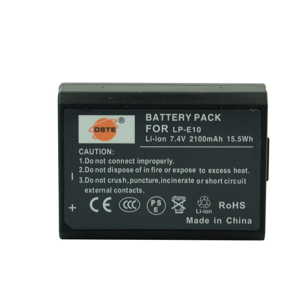 DSTE LP-E10 LP E10 lp-e10 7.4 v 2100 mAh Appareil Photo Numérique Batterie pour Canon 1100D 1200D 1300D Rebel T3 T5 BAISER X50 X70