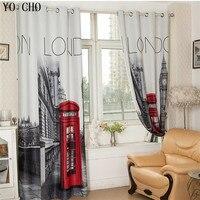 Estilo britânico cortinas blackout cortinas de estilo europeu final produto cortinas blackout quarto sala estar com londres