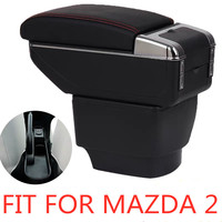 Armrest storage box car organizer seat gap case pocket content box with USB cup holder FIT FOR mazda 2 armrest box