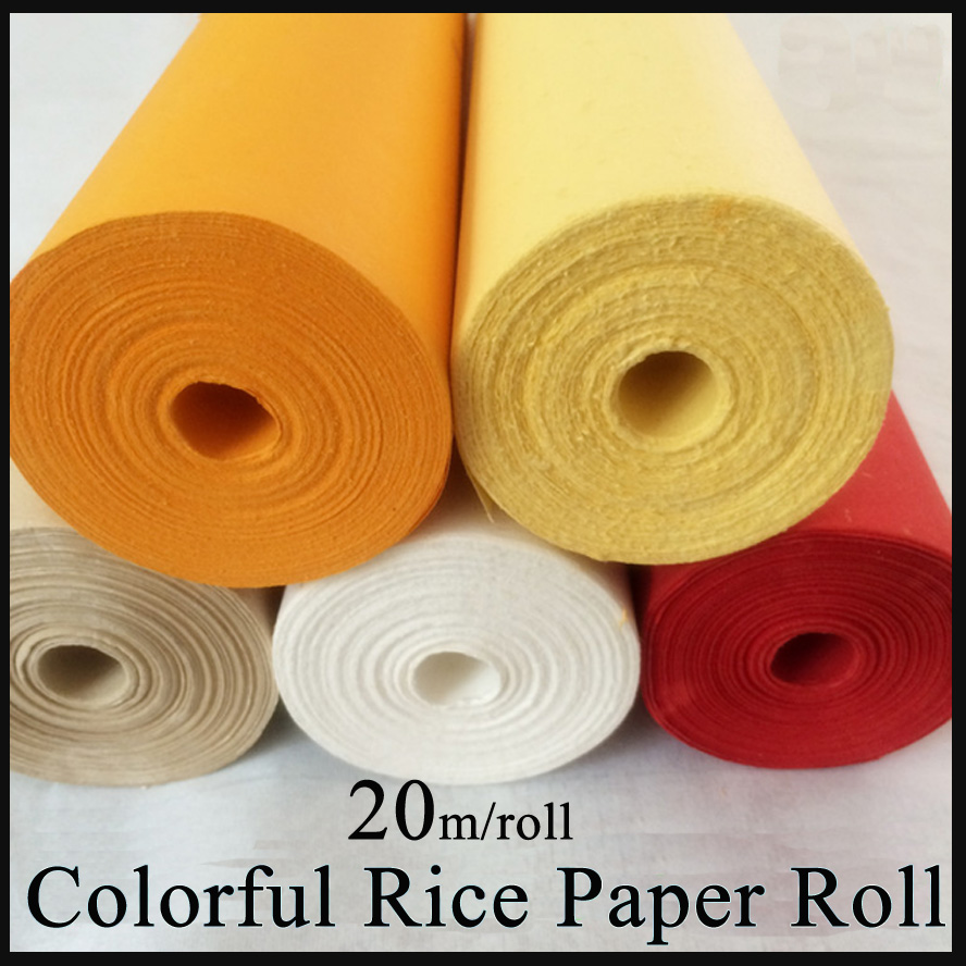 Colorful Painting Raw Rice Paper Roll Chinese Calligraphy Xuan Paper for artist painting calligraphy free shipping 100 pieces lot 7 colors hand made chinese rice paper for painting and decoupage 64 135cm xuan paper