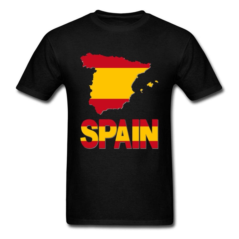 Испания Флаг Карта футболка для мужчин черная футболка мужская летняя одежда хлопковые футболки пользовательские группы тройник бойфренд ...