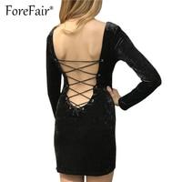 Forefair Women Velvet Dress Black Sexy Backless Lace-up Bodycon Dresses 2017 Winter Long Sleeve Velour Clothing Vestidos