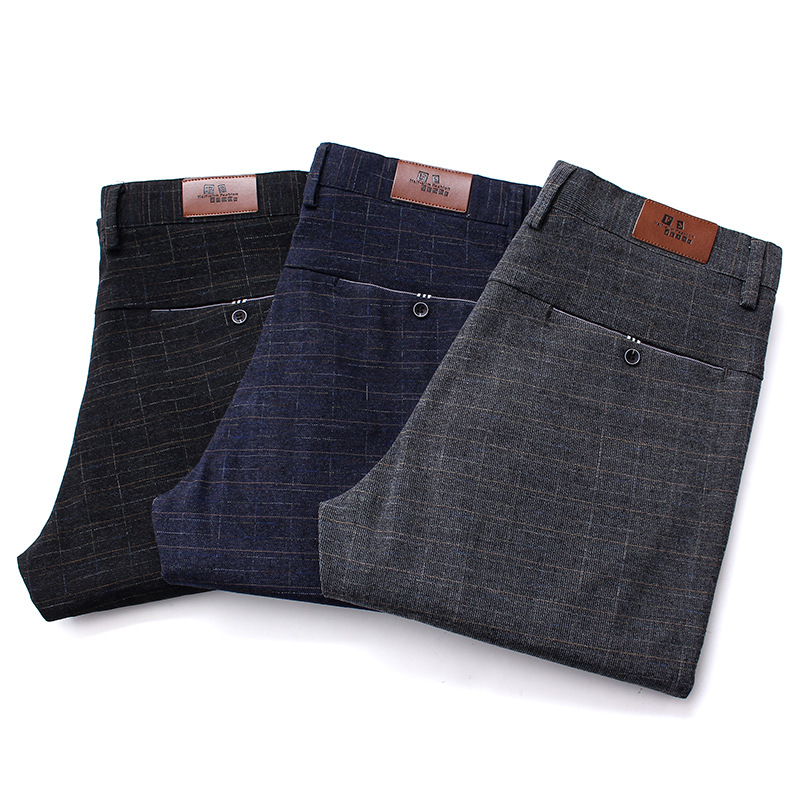 Asstseries Cotton Pants Straight Black Gray Long Lattice Male Business Casual