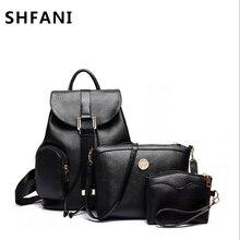 Shangfanni Новинка 2017 года узор Корейская версия сумка комплект из 3 предметов Наборы для ухода за кожей искусственная кожа Для женщин рюкзак Летняя мода combinaion сумка