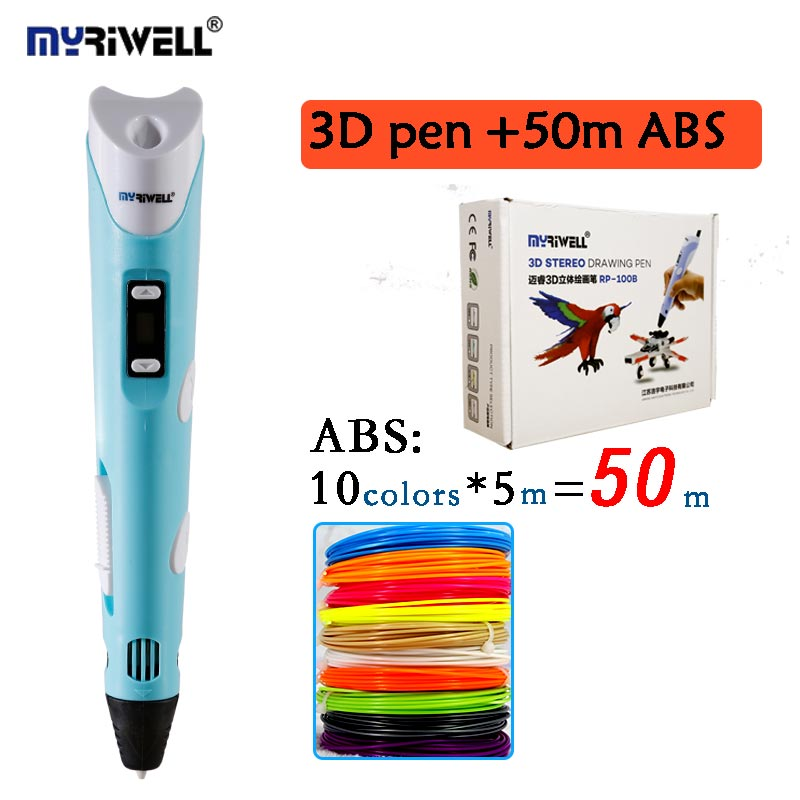 Myriwell 2nd 3D Doodler Pen Low-Heat BPA-Free For Making Doodle Arts & Crafts With Multi-Color ABS Filament(10color*5m)