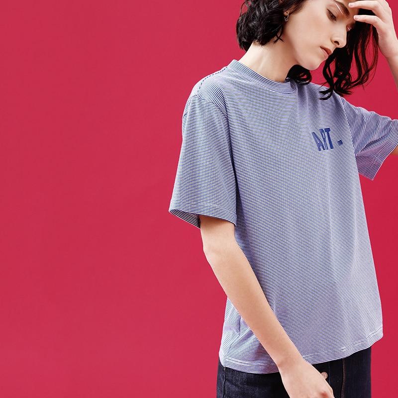 Toyouth Ulzzang Pinstripe Short Sleeve Korean T shirt Female Harajuku Letter Printed O Neck Women Summer