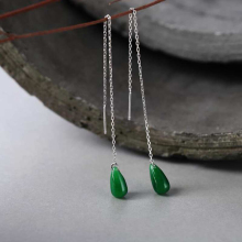 цены Ruifan Green Teardrop Natural Jade Drop Earrings for Women 925 Sterling Silver Tassel Line Threader Earrings Minimalism YEA106