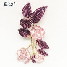 Эмалированная фиолетовая брошь в форме цветка женская свадебная