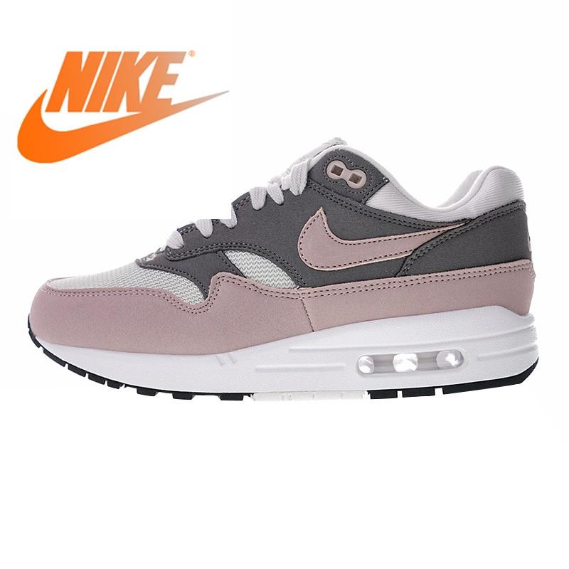 Original authentique Nike Air Max 1 chaussures de course pour femmes rose rouge amortisseur antidérapant résistant à l'usure respirant 319986