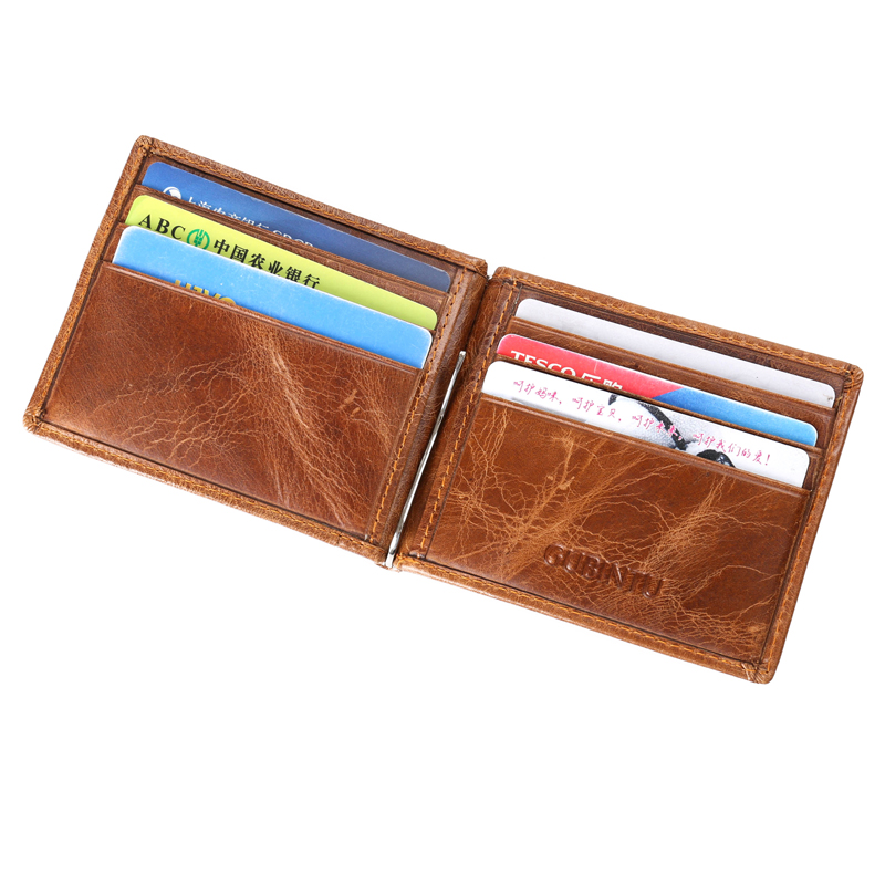 Thin RFID Slim Clamp For Money Bag Business Card Holder Men Wallet Male Purse Cuzdan Genuine Leather Short Vallet Small Carteras