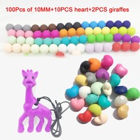 3 In 1lot100PCS 10MM MIX Bead And 2pcs Large Giraffe Teether And 10 Pcs Heart Silicone