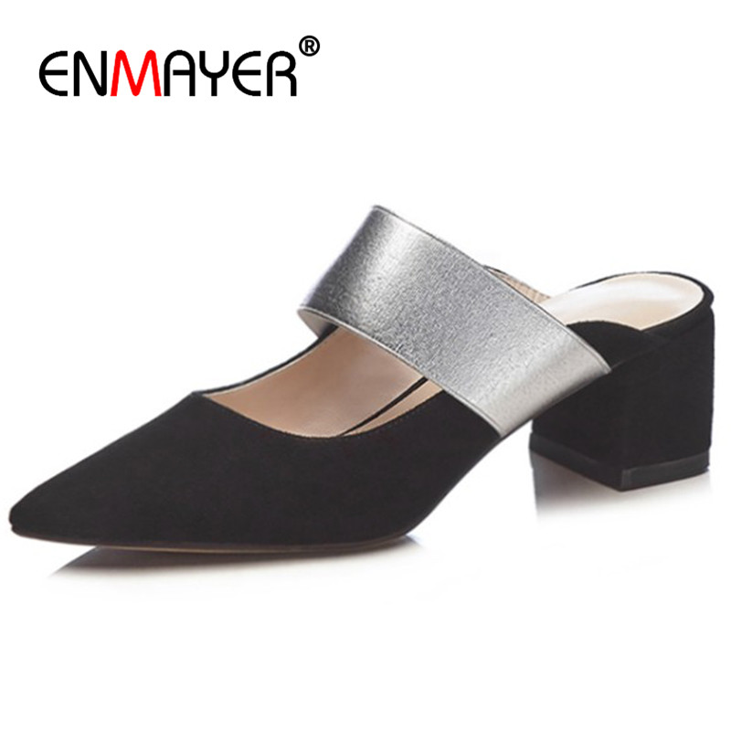 ENMAYER High Heels Pumps Shoes for Women Party Wedding Shoes Woman Slingbacks Shoes Round Toe Slip-on Summer Pumps Size 34-39 enmayer 2017 hot fashion extreme high heels round toe slip on sexy silver shoes women new style summer women pumps for party 41