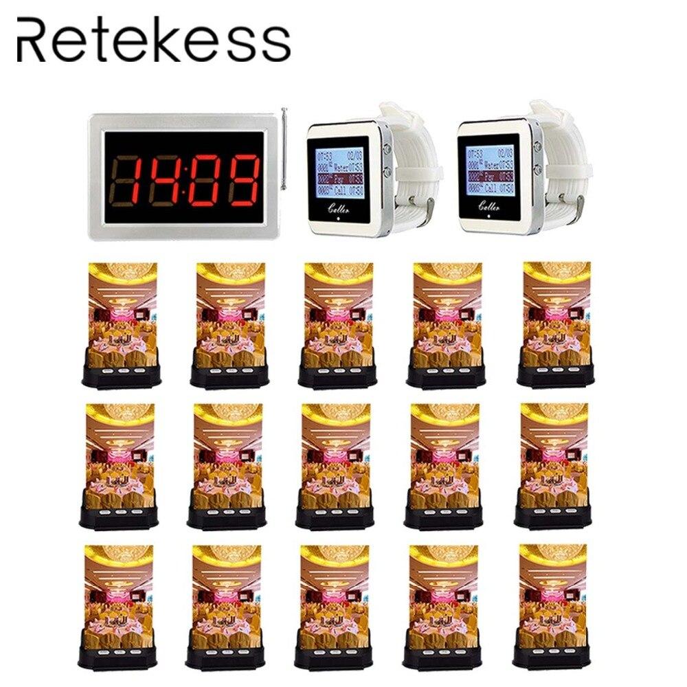 Système de téléavertisseur de système d'appel sans fil café pour Restaurant 1 hôte récepteur + 2 récepteur de montre + 15 bouton émetteur F3365A