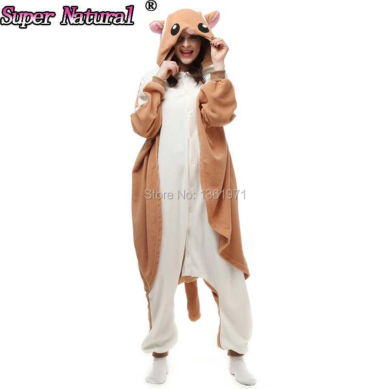 HKSNG взрослых зима летяга Kigurumi пижамы сахарный поссум животного SA  Footed Комбинезоны ракеты домашний костюм косплей 7b1790c6ab646
