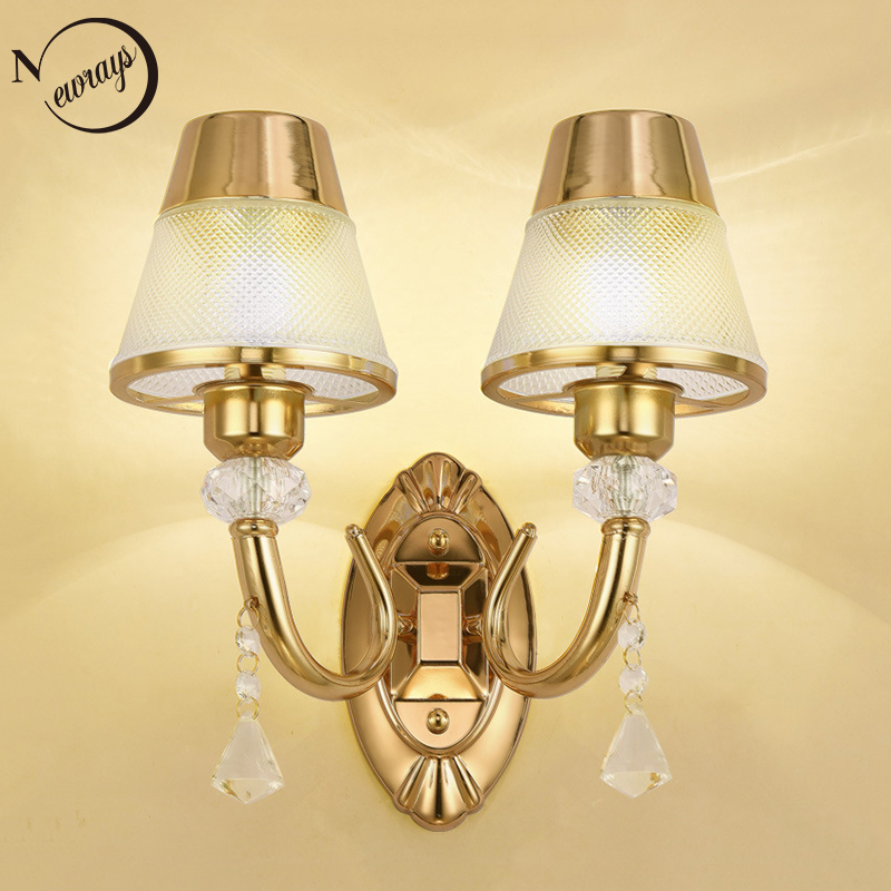 Modern plated metal glass double wall Lamp LED E27 220V Luxury Lustre Wall Lights for living room bedroom restaurant cafe bar Modern plated metal glass double wall Lamp LED E27 220V Luxury Lustre Wall Lights for living room bedroom restaurant cafe bar