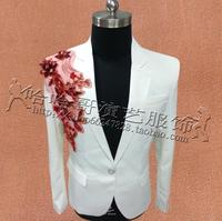 White Embroidery Jackets Men Suits Designs Stage Costumes For Singers Men Sequins Blazer Dance Clothes Star Style Dress Punk