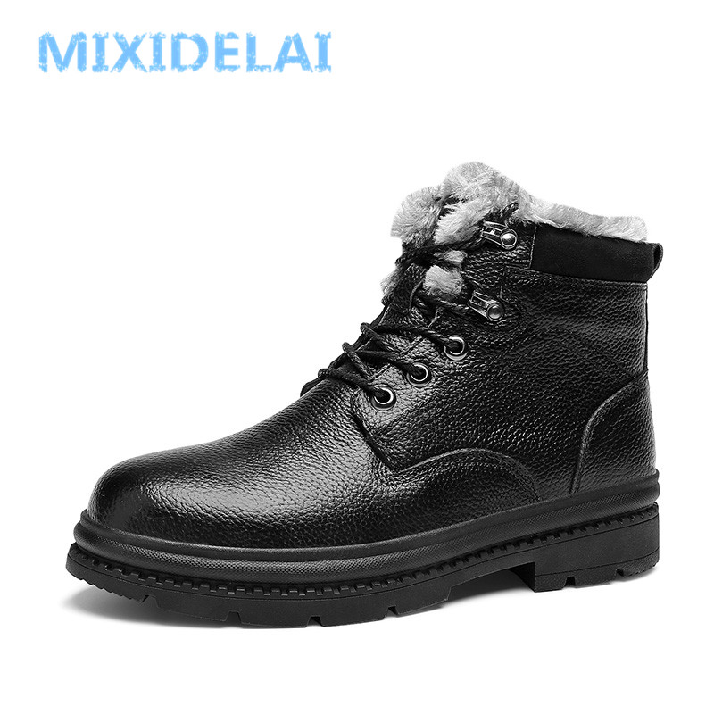 MIXIDELAI High Quality Genuine Leather Men Boots Winter Waterproof Ankle Boots Men's Boots Outdoor W