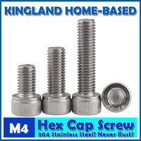 M4 DIN912 Hexagon Socket Head Cap Machine Screws Allen Metric 304 Stainless Steel Bolt HEX Socket