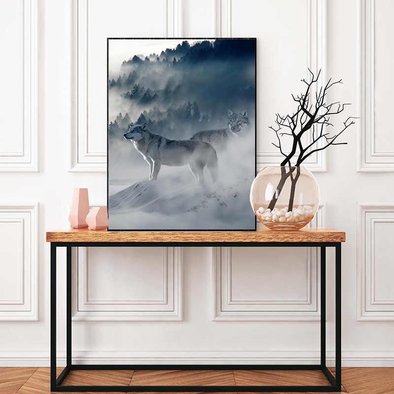 霧山ウルフアートキャンバスポスター北欧森林景観ウォール絵画プリント装飾画像スカンジナビア家の装飾