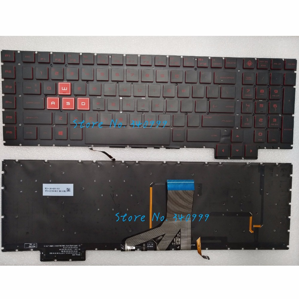 New For HP Omen 17-an 17-an00 17-an013tx 17-an014tx US Backlit Keyboard Red Font