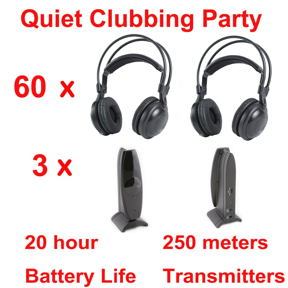 Professional Silent Disco compete system wireless headphones - Quiet Clubbing Party Bundle (60 Headphones + 3 Transmitters) wireless fm transmitters square dance convention professional transmitters