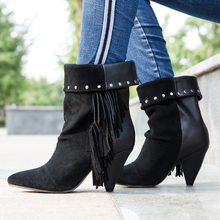 women`s winter genuine leather spring quality suede fringe ankle boots casual cowboy boots rivet motorcycle shoes tassel boots maggie carpenter cowboy s rules