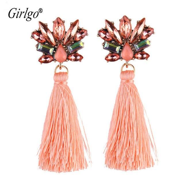 Grilgo Trendy Bohemia Long Tassel Earrings Drop Earrings For Women Flower-shaped