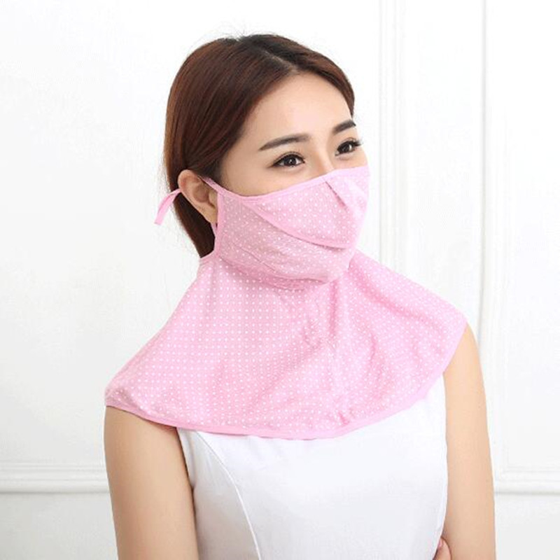 Women Sun Protection Full Face Mask Sunshade Ladies Summer Thin Anti-ultraviolet Breathable Outdoor Neck Mouth-muffle H3143