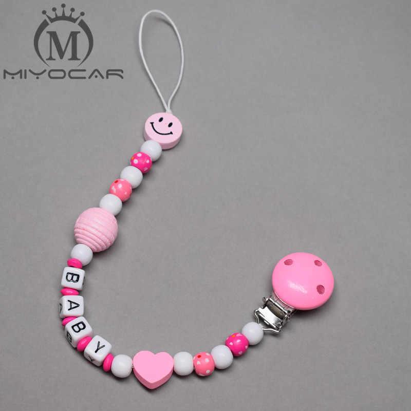 MIYOCAR personalizado-cualquier nombre hecho a mano princesa Rosa sonrisa cuentas de madera portachupetes con pinza chupete clips para chupete cadena
